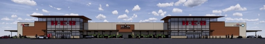 Leander's newest H-E-B will be located at 19348 Ronald W. Reagan Blvd. in the new Bar W Marketplace. (Rendering courtesy H-E-B)