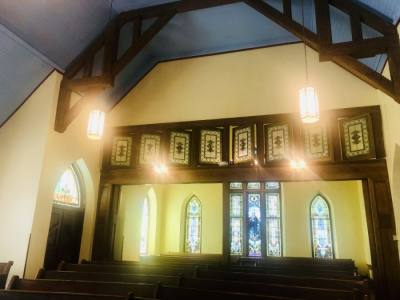 The interior's new colors pay tribute to the church's Swedish heritage. (Sally Grace Holtgrieve/Community Impact Newspaper)
