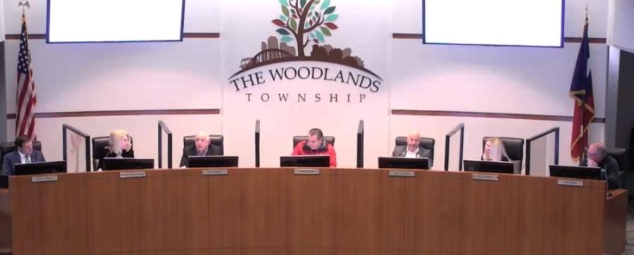 The Woodlands Township board of directors met at the township building Dec. 2. (Screenshot via The Woodlands Township)