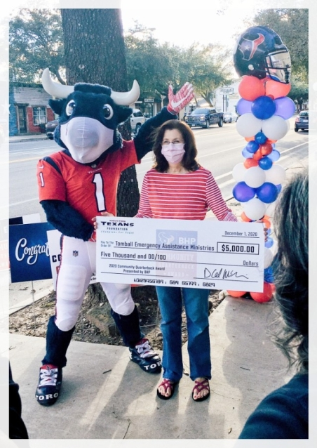 Food Pantry Manager Colleen Chalker was one of nine finalists in the Houston Texans Community Quarterback Awards, receiving a $5,000 award for TEAM. (Courtesy Tomball Emergency Assistance Ministries)