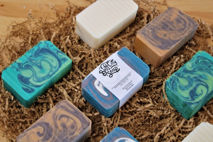 In addition to bath bars, the plant-based soap maker offers bath bombs, body butters, face creams, beard oils and more. (Courtesy Buff City Soap)