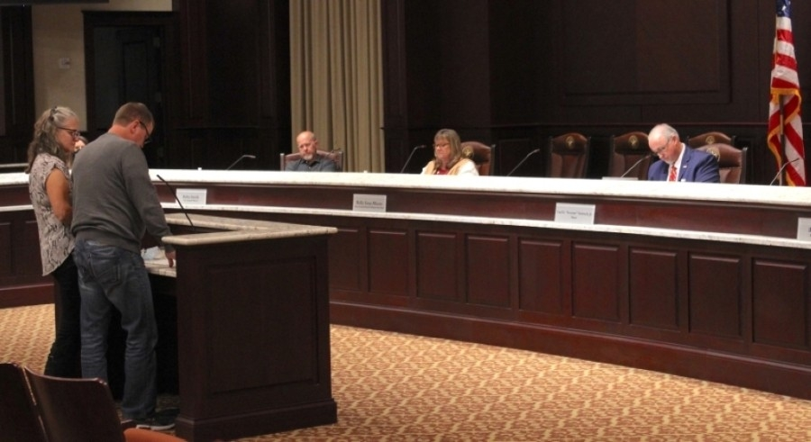 Roanoke City Council members listen to a presentation from Wine:30 owners Tim Hamilton and Annett Van Grinsven during their Dec. 7 meeting. (Sandra Sadek/Community Impact Newspaper)
