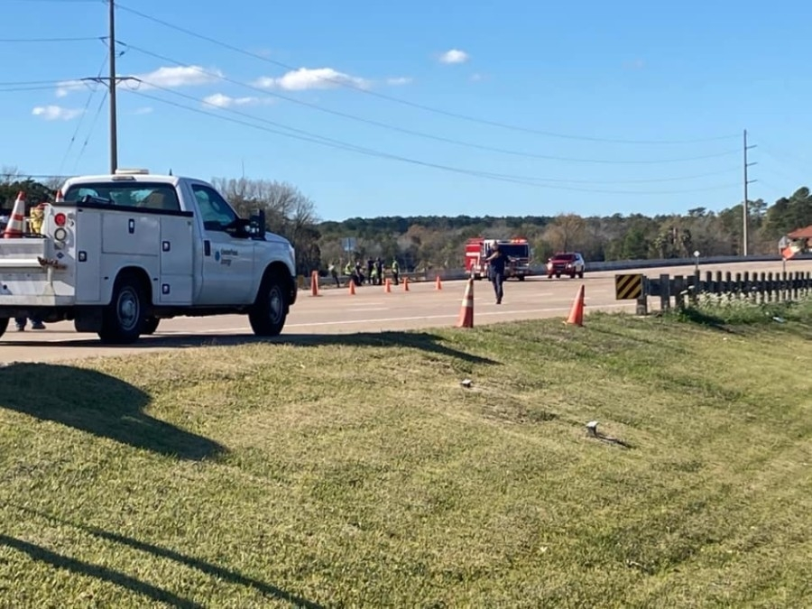 A road closure at intersection of Hwy. 105 at South Pine Lake Road was caused by a nearby gas leak and lasted approximately 8 hours. (Courtesy Conroe Fire Department)
