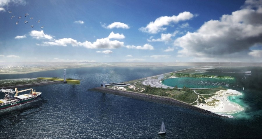 Galveston Bay Park is a plan that would mitigate storm damage to the Texas Gulf Coast during a hurricane. (Rendering courtesy Rogers Partners)