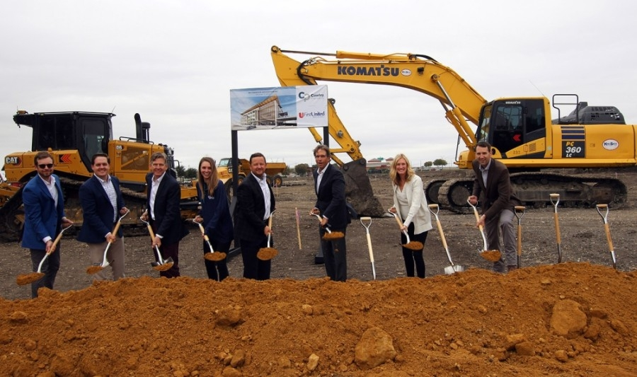 Members of Cawley Partners, First United Bank and the Haggard family broke ground on The Parkwood in October. (Courtesy Cawley Partners)