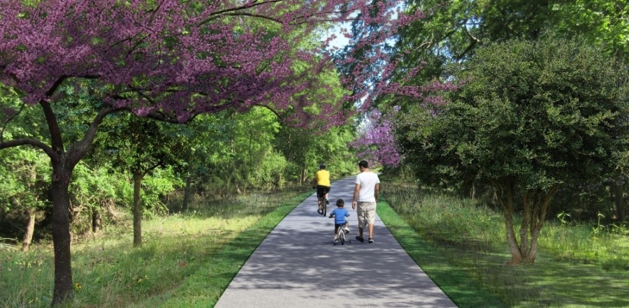 After some delays, the Houston Parks Board plans to begin construction on the San Jacinto River Greenway in 2021. (Rendering courtesy Houston Parks Board)
