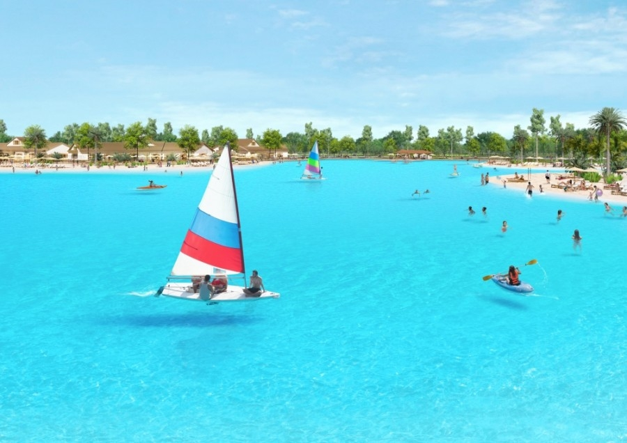 Crystal Lagoon with sailboat on the water