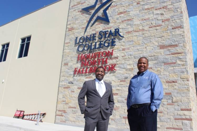 LSC-Houston North President Dr. Quentin Wright, left, said the new campus was funded through a partnership with Fallbrook Church spearheaded by Senior Pastor Michael Pender. (Hannah Zedaker/Community Impact Newspaper)
