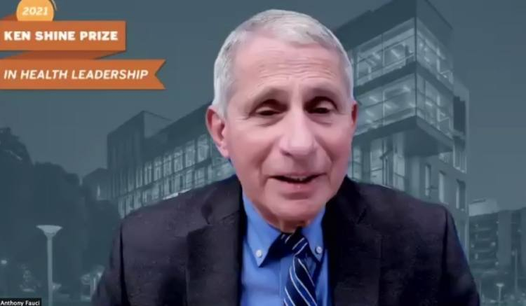 Dr. Anthony Fauci gave remarks while accepting the Ken Shine Prize in Health Leadership from Dell Medical School. (Screenshot via The University of Texas)