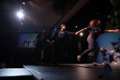 """Members of the Clark High School cast of """"Matilda"""" perform a portion of their upcoming production at the Martin Luther King Jr. tribute event in 2020. (Liesbeth Powers/Community Impact Newspaper)"""