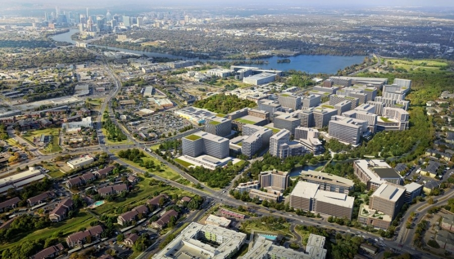 RiverPark is a 109-acre project that is set to be phased in over the next 10-20 years along East Riverside Drive in Austin. (Rendering courtesy Sasaki)