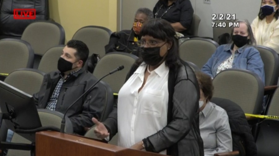 W. Ranch to Market Road 150 Naming Committee member Vanessa Westbrook addresses Kyle City Council on Feb. 2. (Screen shot courtesy city of Kyle)