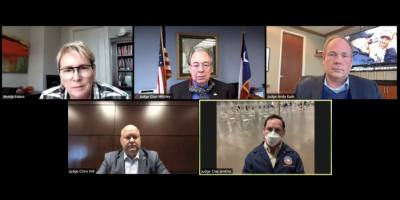 AECOM Texas Executive Wendy Lopez moderates a panel discussion Feb. 4 featuring Tarrant County Judge Glen Whitley, Denton County Judge Andy Eads, Collin County Judge Chris Hill and Dallas County Judge Clay Jenkins. (Screenshot courtesy North Texas Commission)