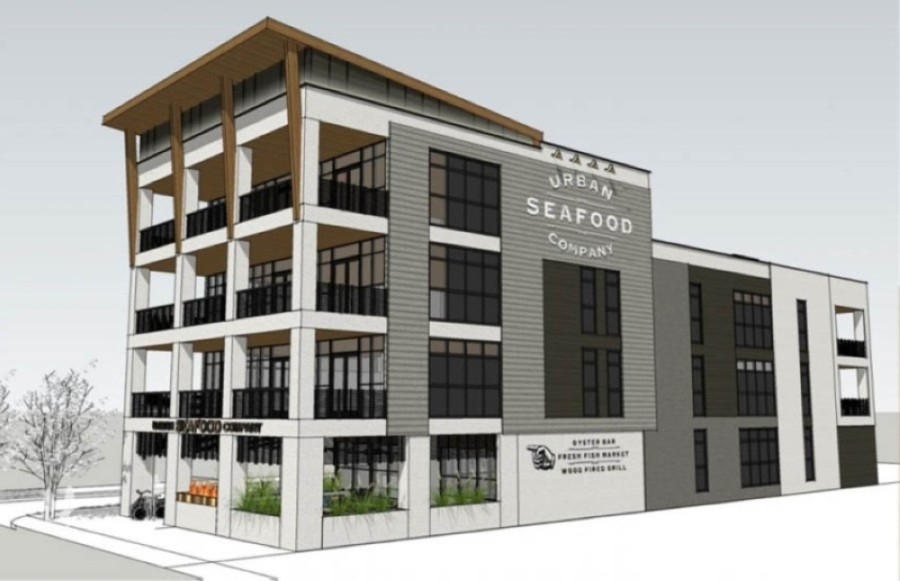 Urban Seafood Co. is expected to open in Plano this April as part of a four-story mixed-use building near downtown Plano. (Rendering courtesy Urban Seafood Co.)