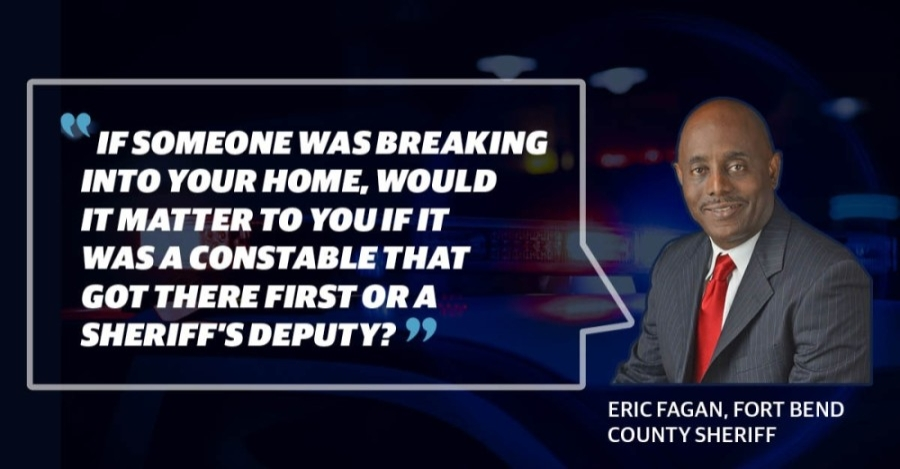 Fort Bend County Sheriff Eric Fagan reversed former Sheriff Troy Nehls' emergency dispatch policy during his first week in office. (Graphic by Chase Brooks/Community Impact Newspaper)