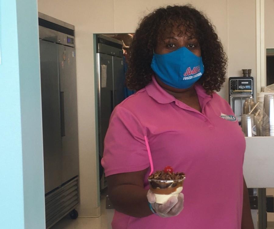 Brenda Wilson opened Rollies Frozen Custard with her husband, Arthur, in February 2019. (Haley Morrison/Community Impact Newspaper)