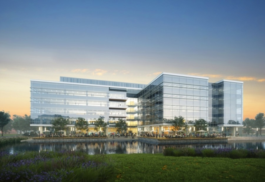 Phase 1 of Levit Green includes a 270,000-square-foot life sciences building alongside the district's network of green space and lakes. (Courtesy Levit Green)