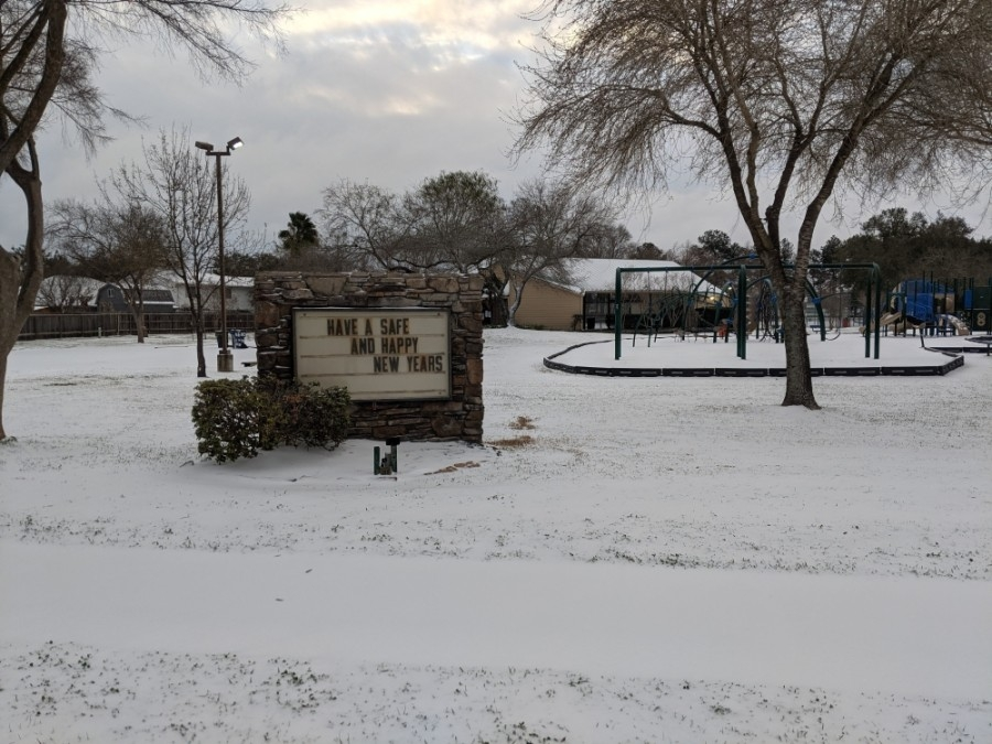 Tomball residents woke up to snow Feb. 15. (Anna Lotz/Community Impact Newspaper)