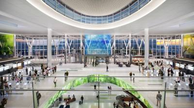 The $560 million central processor, which is part of the new Mickey Leland International Terminal, will replace the parking garage for terminals D and E. (Courtesy Houston Airport System)