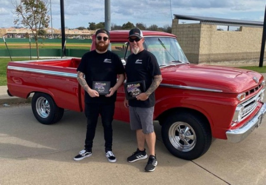 Andrew Belshe, left, runs the Wylie location while his father, Scott Belshe, runs the Richardson branch. (Courtesy Meteor Hamburgers)