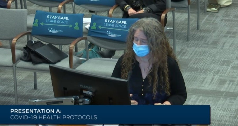 New Braunfels physician Dr. Emily Briggs addresses City Council during a March 8 meeting. (Screen shot courtesy city of New Braunfels)