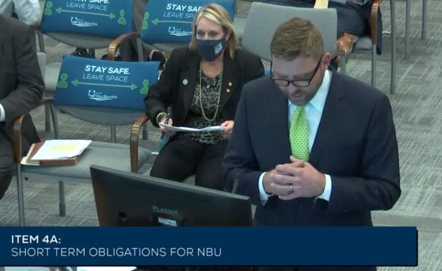 NBU CEO Ian Taylor addresses City Council on March 8. (Screen Shot courtesy city of New Braunfels)