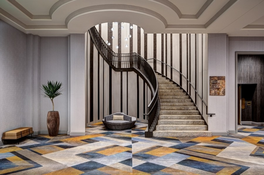 The upgrades included updated ballrooms, meeting spaces and a new spiral staircase, among other items. (Courtesy Dallas/Plano Marriott at Legacy Town Center)