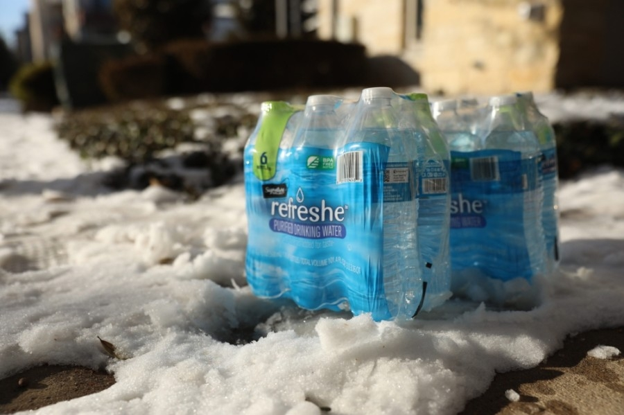 Alkaline Market distributed water to local residents during Texas' February storm. (Liesbeth Powers/Community Impact Newspaper)