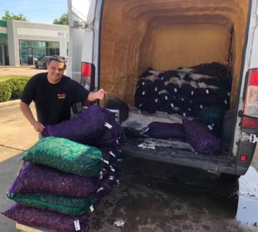 OMG Seafood co-owner Shane Billiot receives regular shipments of crawfish to supply his customers. (Photos courtesy OMG Seafood)