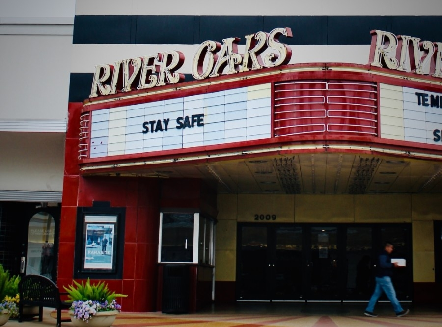 Landmark's River Oaks Theatre, shown in 2020 amid the forced closures after the COVID-19 outbreak, may soon close permanently. (Matt Dulin/Community Impact Newspaper)