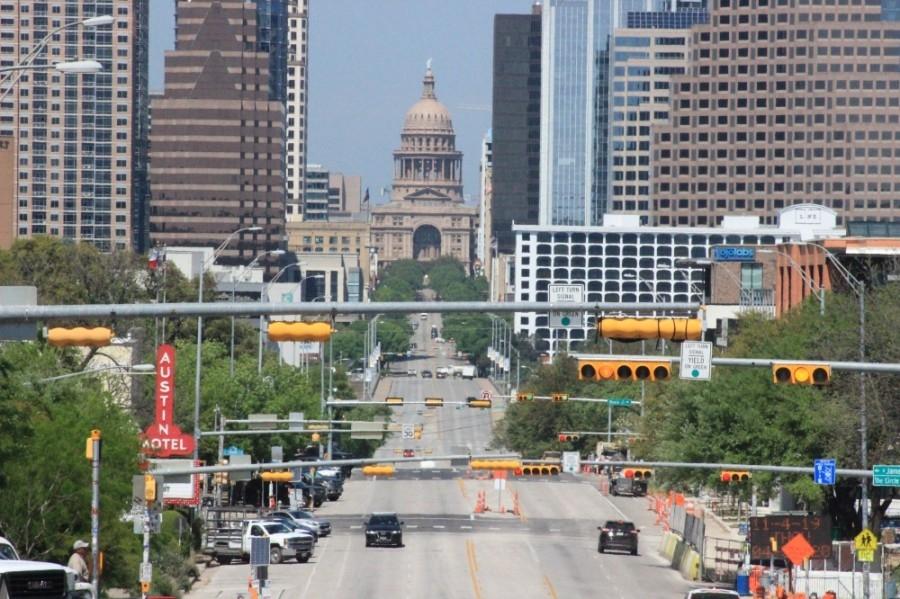 Photo off the Austin skyline from S. Congress Street