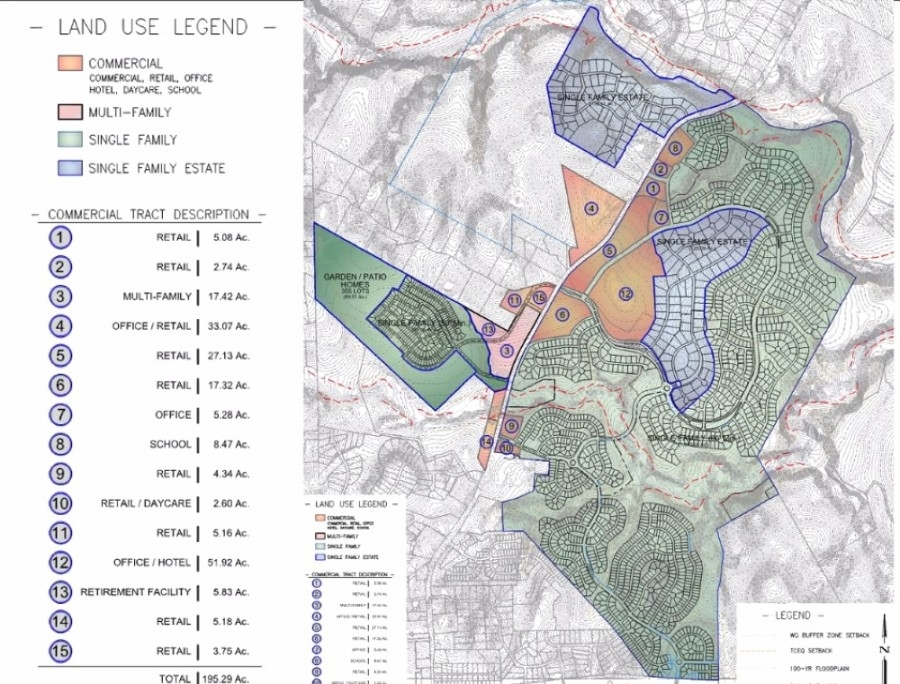 The Double L Ranch concept plan shows residential and commercials uses north of downtown Dripping Springs. (Concept plan courtesy city of Dripping Springs)