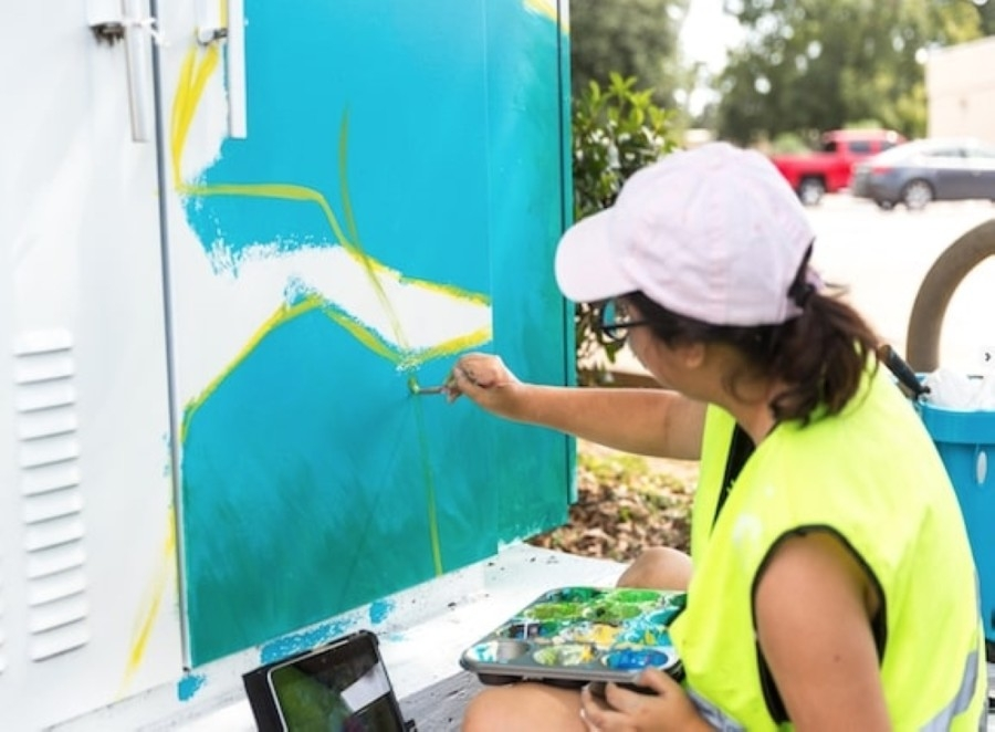 """To increase public art and make League City more attractive, officials are launching a campaign to paint """"mini murals"""" on traffic utility boxes across the city through the fall. (Courtesy city of League City)"""