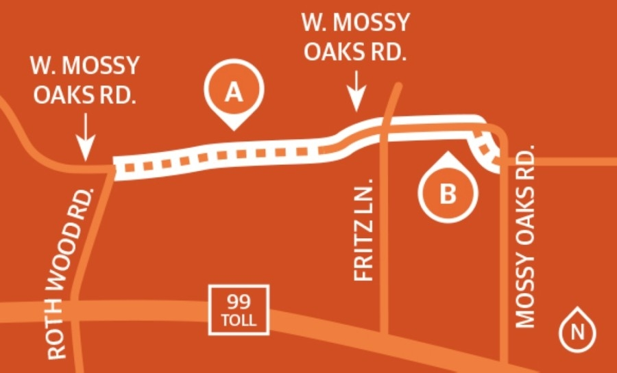 (A) Segment 1 will extend West Mossy Oaks from Rothwood Road to Fritz Lane as four lanes with improved drainage and traffic signals. (B) Segment 2 will continue those improvements along West Mossy Oaks from Fritz Lane to Mossy Oaks Road and realign a portion of the road. (Graphic by Ronald Winters/Community Impact Newspaper)
