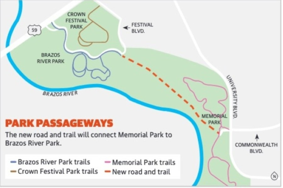 This map shows the new road and trail as well as the network of existing trails in the area. (Graphic by Chase Brooks/Community Impact Newspaper)