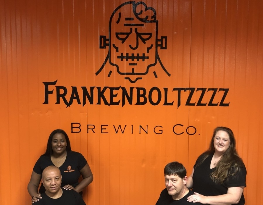 Monique and Johnny Crawford (left) and Chuck and Michelle Coleman (right) are opening Frankenboltzzzz Brewing Co. in Montgomery. (Courtesy Frankenboltzzzz Brewing Co.)