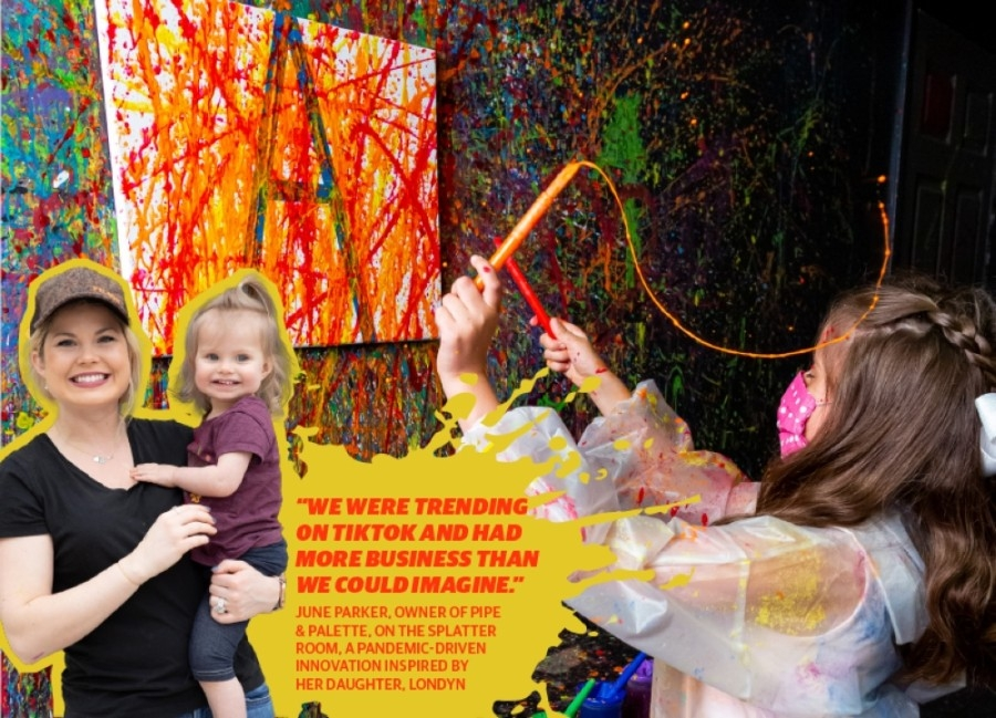 Splatter Room guest Abigail creates a painting at Parker's former location in downtown Plano. (Courtesy Pipe & Palette)