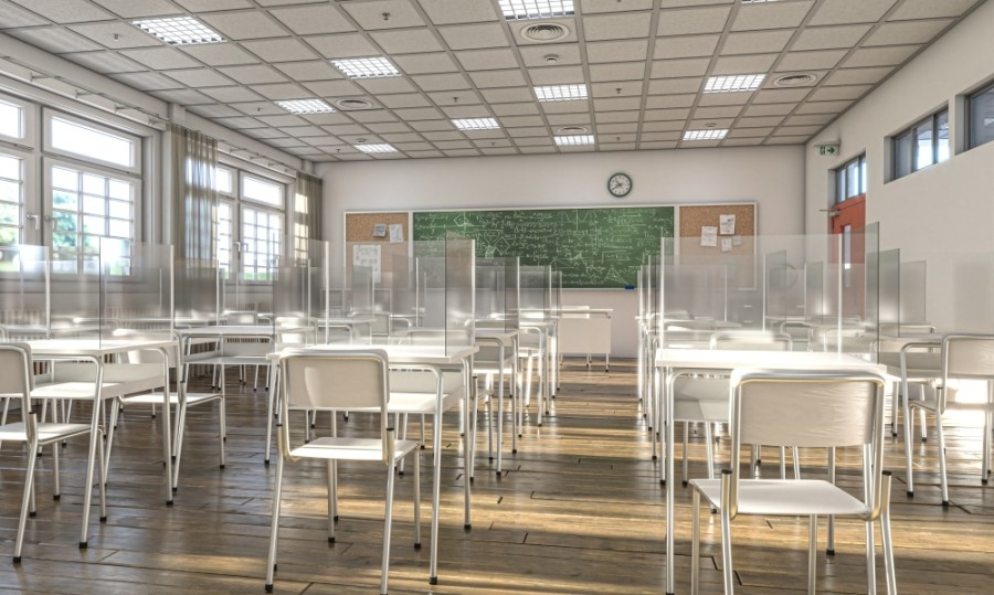 Classroom with desk shields