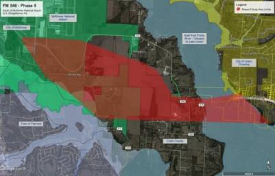 The red portion of the map identifies Collin County's corridor study area for new alignments for an expansion of FM 546. (Courtesy Collin County)