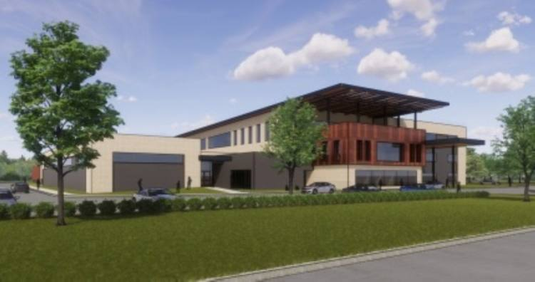 This rendering of Frisco ISD's first intermediate campus shows the view from northbound Alma Road. (Courtesy Huckabee)