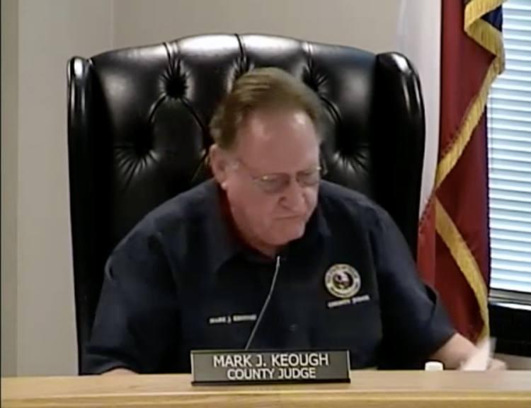 Montgomery County Judge Mark Keough speaks during a budget presentation April 13. (Screenshot via Montgomery County livestream)