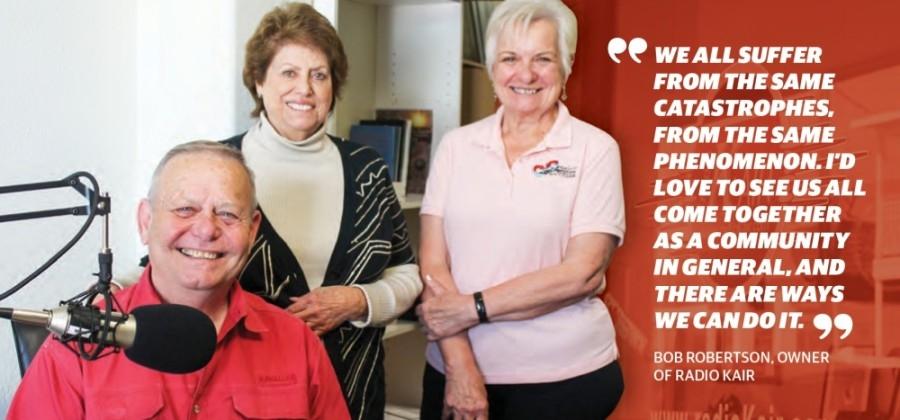 From left: Bob Robertson, Linda Robertson and Diana Sanders run Radio KAIR. (Andy Li/Community Impact Newspaper)