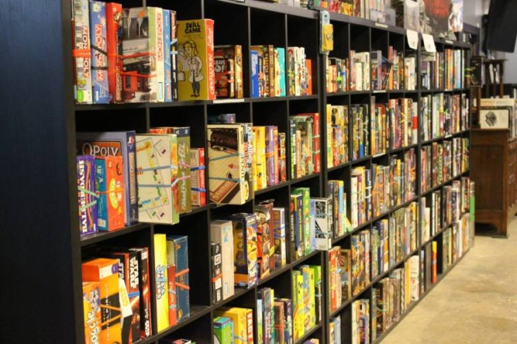 There are more than 400 board games available to play at Battlehops Brewing. (Morgan Theophil/Community Impact Newspaper)