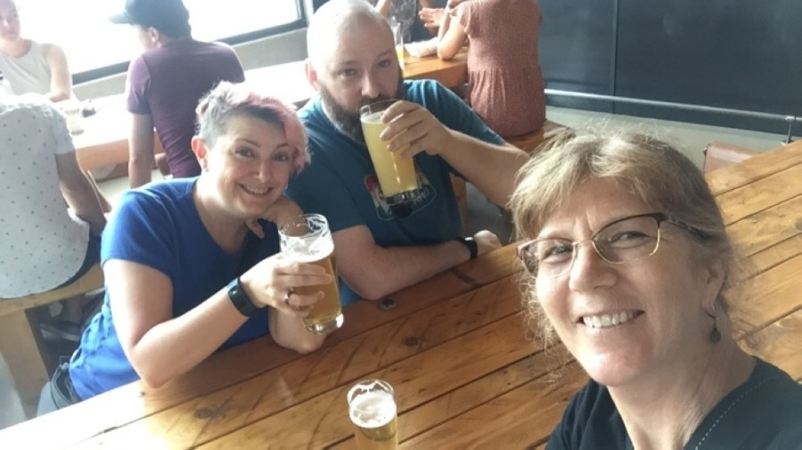 Jen and Chris Mathis (left) and Janine Weber have been developing Ovinnik Brewing for about a year. Their facility in the Timbergrove area could open by the end of the summer. (Courtesy Ovinnik Brewing)