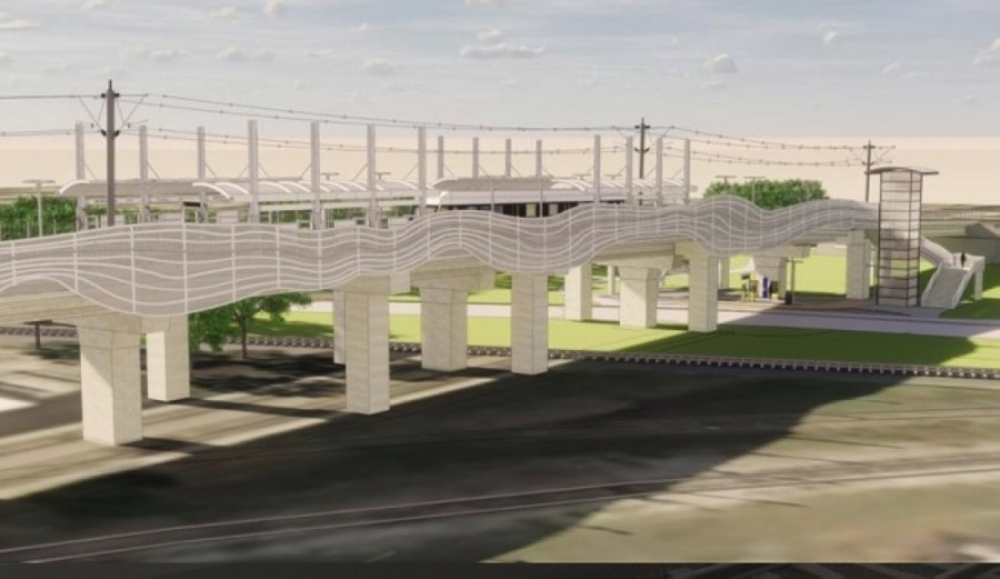 This rendering shows a concept for the 12th Street aerial light rail station being designed on 1.6 acres in Plano. (Courtesy Dallas Area Rapid Transit)