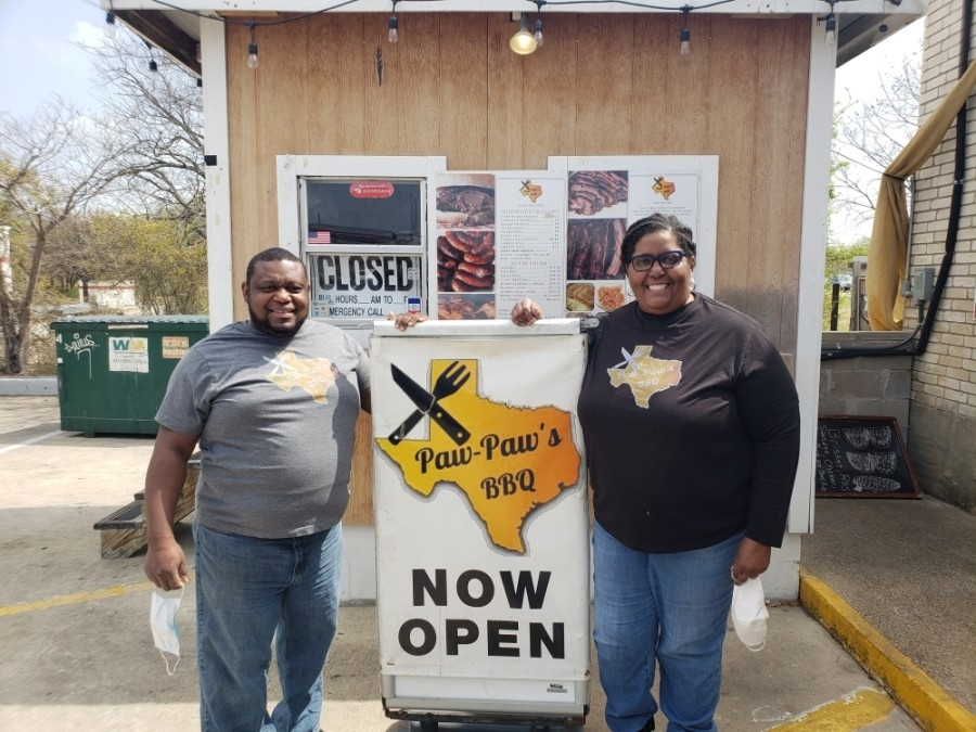 Andrea Cameron and her husband, Gaius, decided to give their catering business a permanent home, opening a brick-and-mortar location of Paw-Paw's BBQ in April 2020. (Ali Linan/Community Impact Newspaper)