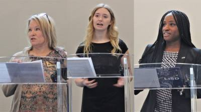From left: Grapevine-Colleyville ISD trustee Coley Canter; Grapevine-Colleyville ISD junior Lauren Abell; and Alexis Miller, a third-grade teacher in Lewisville ISD, were among the many speakers voicing their support for funds to be released to public schools. (Sandra Sadek/Community Impact Newspaper)