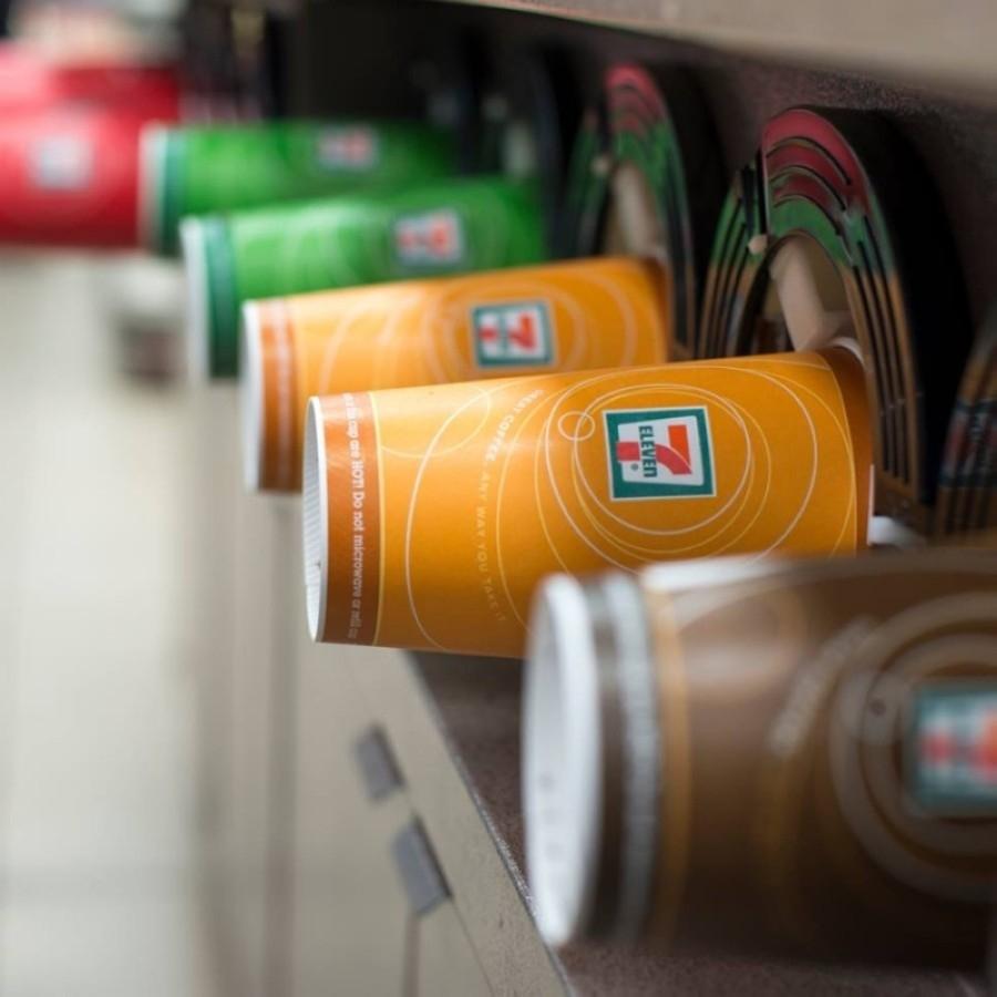 7-Eleven-branded hot drink cups at a self-serve station
