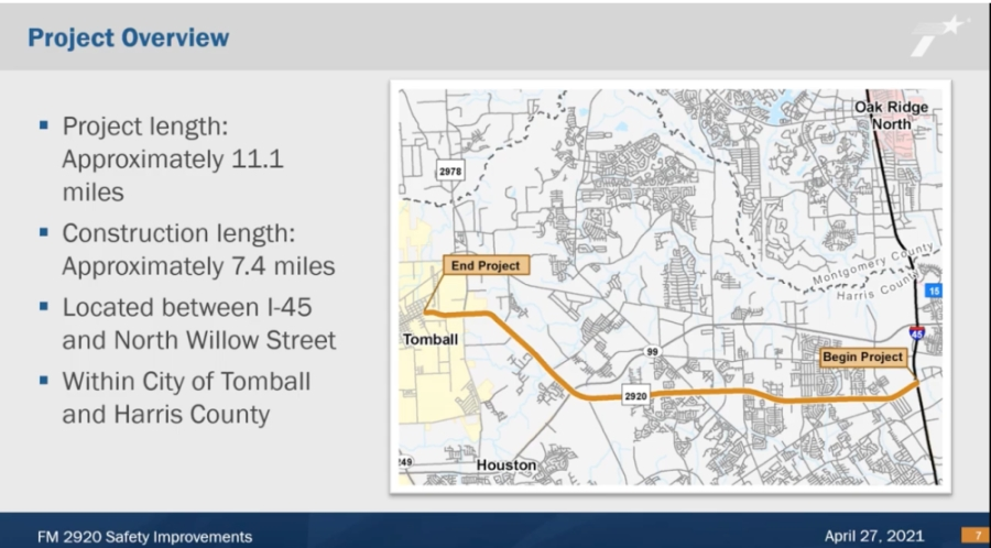 The project spans from the city of Tomball to I-45. (Screenshot via TxDOT)