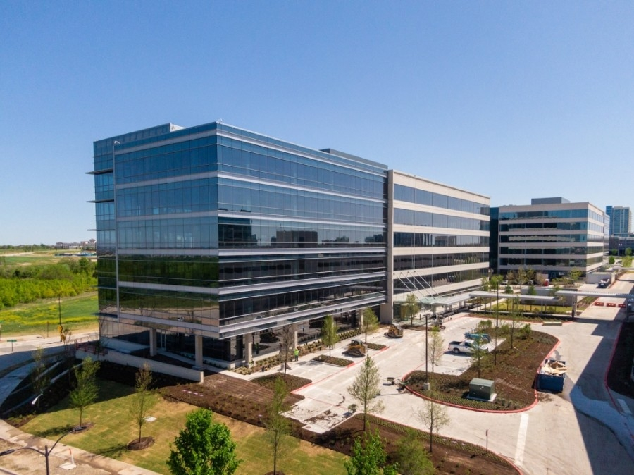 Construction is complete at The Offices Three at Frisco Station. (Courtesy VanTrust Real Estate)